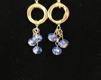 Blue Crystal Bead Earrings