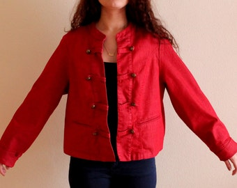 Vintage Hot Red Plus Size Denim Jacket Blazer Marching Band Hussard Military Blazer MJ Michael Jackson Blazer Jacket XL Size Oversized