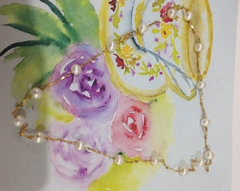 pearl&gold necklace