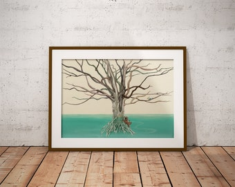 Octotree - Printable Wall Art, Poster, Wall Decor, Illustration, Print, Instant Download