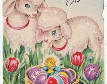 Lambs & Baby Chick in Nest with Easter Eggs - Happy Easter Card printable digital download