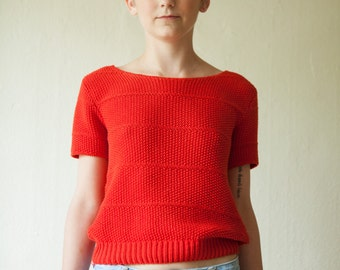 """Red Short-Sleeve """"That 70's Show"""" Knit Sweater"""