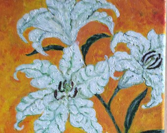 White lilies paintings