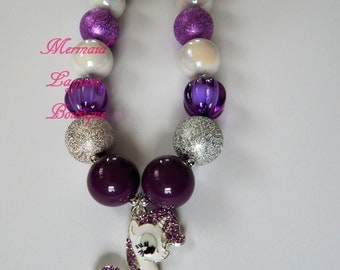 My Little Pony Inspired Rarity Chunky Beaded  bubblegum Necklace purple silver white rhinestone MLP