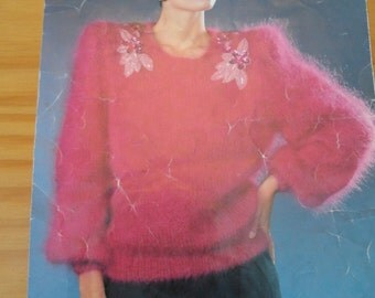 """Original vintage knitting pattern by Sirdar for ladies mohair sweater in sizes 30 - 40"""""""