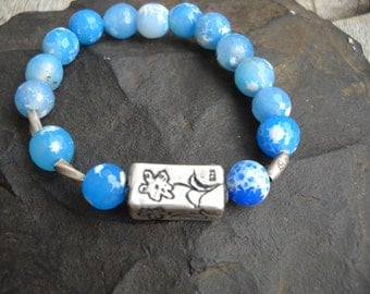 Blue Quartz and Sterling silver Bracelet with Sterling silver beads