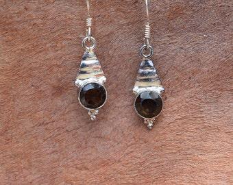 Neblina Smokey Quartz & Silver Dangle Earrings