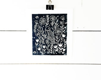 Bird Art Print, Lino Print, Floral Print, Modern Nursery Art, Linocut Print, Modern Art Print, Childrens Art, Nature Art, Original Art