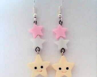 Kawaii Yellow Star Earrings with small Pink & white stars. Pastel colours. Cute. Kawaii. Sweet Lolita. Fairy Kai. Jfashion.