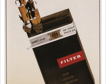 Anti Smoking Vintage Ad Poster Klaus Staeck Germany 1963 24x36 Rare Hot New