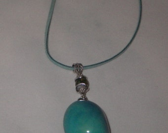 Necklace turquoise tagua nuts