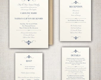 The Caroline - Elegant and Traditional Wedding Invitation Set with beautiful Typography - DIY - Print at home Wedding Invitation Suite!