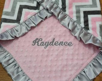 Satin Ruffle Minky Blanket, Baby Girl Blanket, Personalized Baby Blanket, Chevron Baby blanket