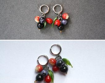 Glass Berries Earrings - Blueberries, Cranberries, Barberry & Black Currant Bundle