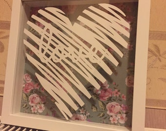 Framed Scribble Love Quote Heart Hand Cut Paper Cut - Wedding - Gift - Anniversary - Newlyweds - Home Decor - Typography Cut - Present