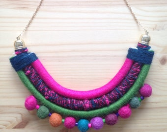 Wool and felt necklace