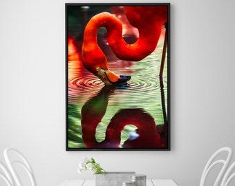 Flamingo, Flamingo Print, Tropical Wall Art, Pink Flamingo,Animal photography, Nature, minimalist, Pink home decor, Bird photography