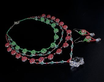 "Beaded necklace and earrings ""Summer Crystals"""