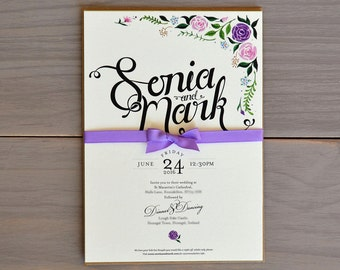 Floral Wedding Invitation with Lilac Ribbon