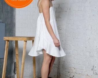 Organic cotton dress with ruffles, summer dress, beach wedding dress, white dress, sleeveless dress