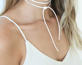 White/Gold 'TULAY' Suede Leather Wrap Tie Necklace