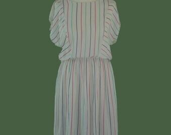 Miss Lagotte White 1980s Vintage Dress | Vintage Summer Dress | 1980s Day Dress | Size Medium UK 12-14