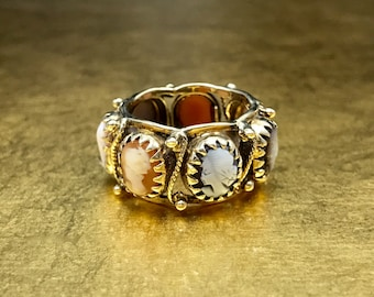 Cameo Ring | Cameo Eternity Band | Gold Eternity Band | Antique Eternity Ring | Victorian Eternity Band | Coral Eternity Band | Size 6.75