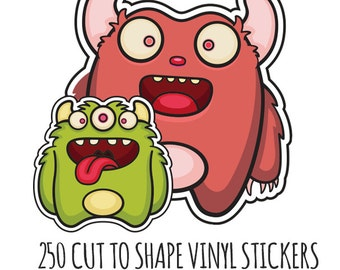 Custom Die Cut Stickers-  250 Vinyl Die Cut Stickers-  Cut to Any Shape