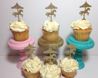 Carousel Cupcake Toppers (Carousel Party, Glitter Decorations, Carousel Theme)
