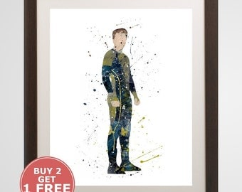Peeta Mellark Print, The Hunger Games watercolor, home arts, decor, cartoon kids children Illustration, Gift, Movie Poster YC427