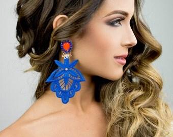 Blue Chandelier Earrings, Gift for Christmas, Drop Earrings, Long Earrings, Dangle Earrings, Boho Jewelry, Statement Earrings, Gift for Her