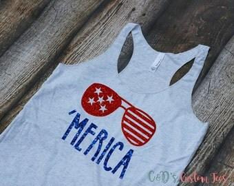 Merica Tank Top - Women's 4th Of July Tank - July 4th Tank Top - America Tank Top - Patriotic Tank Top - Merica Shirt - Women's Merica Tee