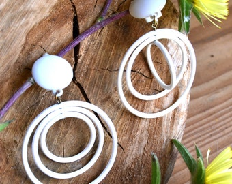 Large Clip-on hoops Clip on Hoops Hoop Earrings Dangle Clip-on Hoops White Vintage 80s deadstock