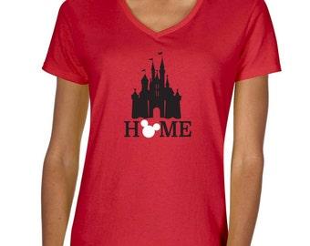 Disney Castle Home Vneck Tshirt