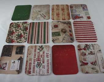 Christmas Journal Cards Old Fashioned Winter Vintage Style Themed Handmade 3x4 Pocket Page Journaling Cards Scrapbooking  Cards Pack of 12