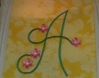 Machine embroidery large monogram font flower alpha