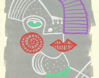 Cubism minimalism line portrait of lady