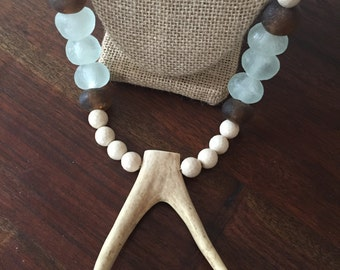 Double Antler & Sea Glass Necklace