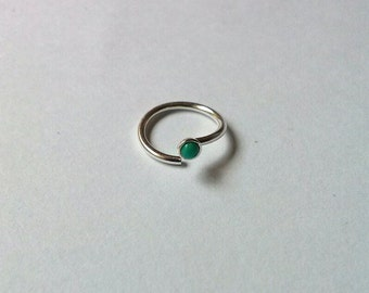 Nose Ring/Ear Ring-16g,18g,20g-Sterling Silver/ 2mm Turquoise stone-6mm to 10mm