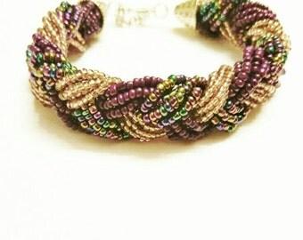 Purple bracelet, beaded bracelet, braided beaded bracelet, gold bracelet, gold beaded bracelet