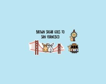 San Francisco Planner Stickers, for agenda, calendar, scrapbook/Vacation Sticker,Countdown sticker, SFO,Golden Gate, Fisherman's Wharf I BT1