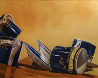 Mal de mer, les tasses du Titanic, Nature morte, peinture originale Anne Zamo
