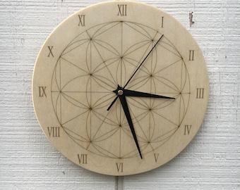 Laser Engraved Sacred Geometry Mandala Clock