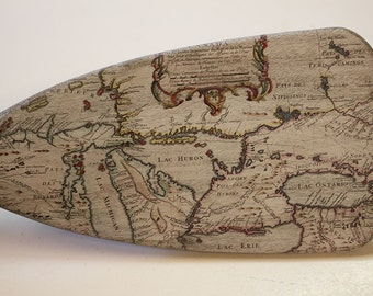 """Father's Day Gift, 30"""" Nautical Oar, Wall Art, Vintage Great Lakes Map, Ocean Decor, Gift for him, Custom Lake Map, Rowing Gifts"""