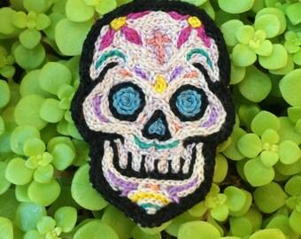 Small Sugar Skull / Dia De Los Muertos Embroidered Patch