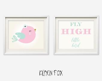 Bird wall art - pinkbird nursery art - kids wall art - Nursery Decor - bird wall print - pink bird art print - fly high wall art