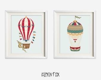 Hot air balloon wall art - red hot air balloon nursery art - kids wall art - Nursery Decor - hot air balloon print - vintage hot air balloon