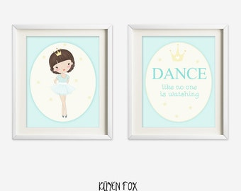 Ballerina wall art - ballerina nursery art - kids wall art - Nursery Decor -aqua ballerina - princess ballerina - ballet nursery art