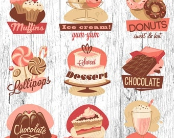 18 Bakery Sweets clipart,cupkake clip,candy clipart, fruits clipart, cookies clipart,food clipart,digital cake,scrapbooking,cupcake clipart