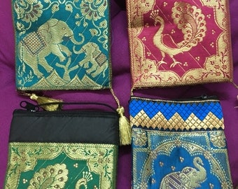 Beautiful woven silk chandher Sling bags, cross body bags, Zip pouches, gift